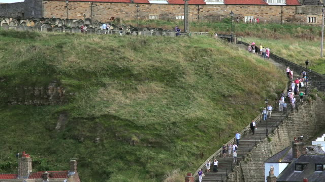 199 steps to st mary church and abbey - whitby north yorkshire england stock videos & royalty-free footage