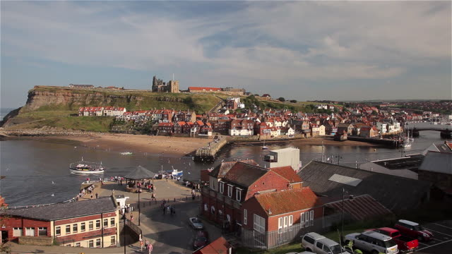 east cliff beach and harbour - whitby north yorkshire england stock videos & royalty-free footage