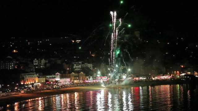 south bay firework display - scarborough uk stock videos & royalty-free footage