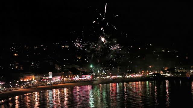 south bay firework display - firework display stock videos & royalty-free footage