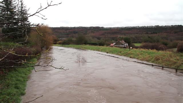 vídeos de stock e filmes b-roll de river derwent floods hackness scarborough - scarborough reino unido