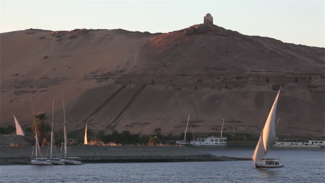 FELUCCA IN FULL SAIL AND TOMBS OF THE NOBLES