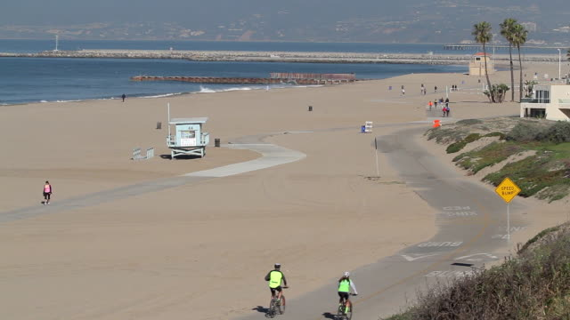 cycle path dockweiler state beach - el segundo stock videos & royalty-free footage