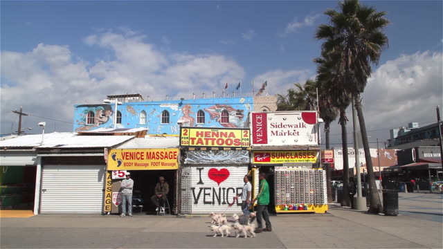 venice reconstituted mural and boardwalk - ladenschild stock-videos und b-roll-filmmaterial