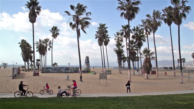 vídeos y material grabado en eventos de stock de cycle path and venice boardwalk - bulevar
