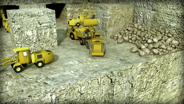 UNDERGROUND LOADING EXPLOSIVES AND LOADING MINING TRUCK WITH LABELS