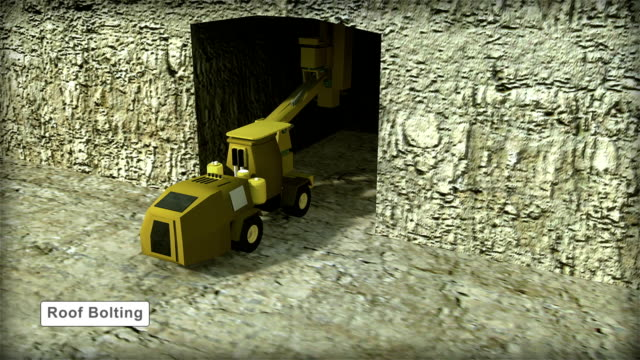 3D ANIMATION OF ROOF BOLTING EQUIPMENT USED IN UNDERGROUND MINING WITH LABELS