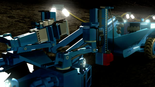underground coal mining with continuous miner - tungsten image stock videos and b-roll footage