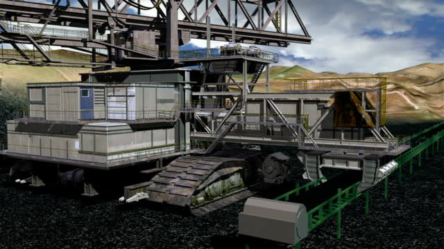 vídeos de stock e filmes b-roll de 3d animation of coal mining operation with a bucket-wheel - balde