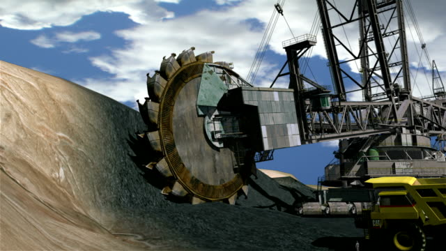 3d animation of a bucket-wheel excavator - bucket stock videos and b-roll footage
