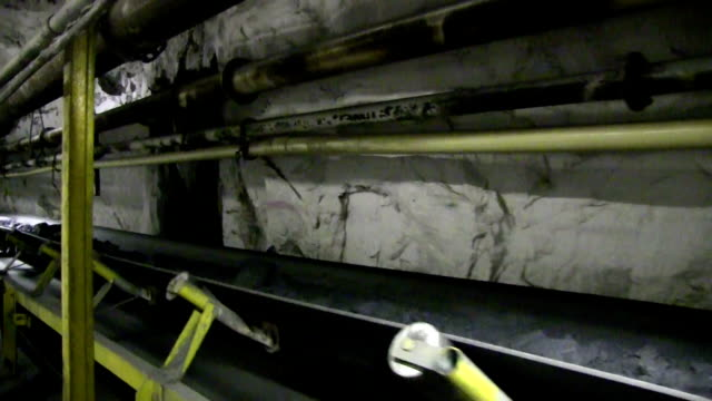 underground conveyor belt one - coal mine stock videos and b-roll footage