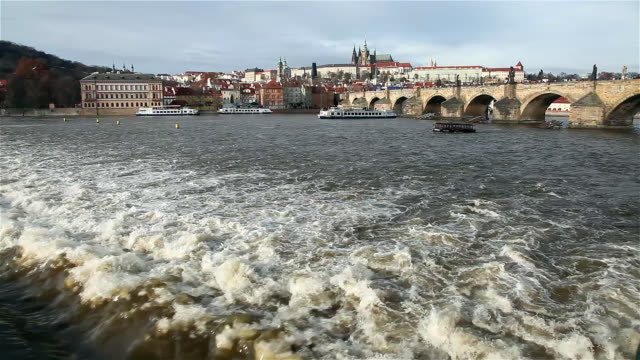 vltava river charles bridge and st vitus cathedral - charles bridge stock videos and b-roll footage