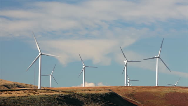wind turbines on moor - windmill stock videos & royalty-free footage