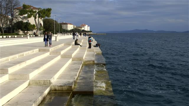 sea organ on zadar quay - croatia stock videos & royalty-free footage