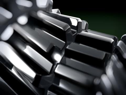 PRIMER PLANO EN 3D METTALIC ENGRANAJES GIRANDO
