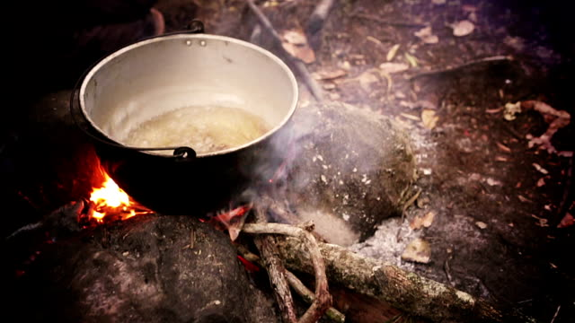 HD BOILING WATER ON CAMPFIRE IN THE RAINFOREST