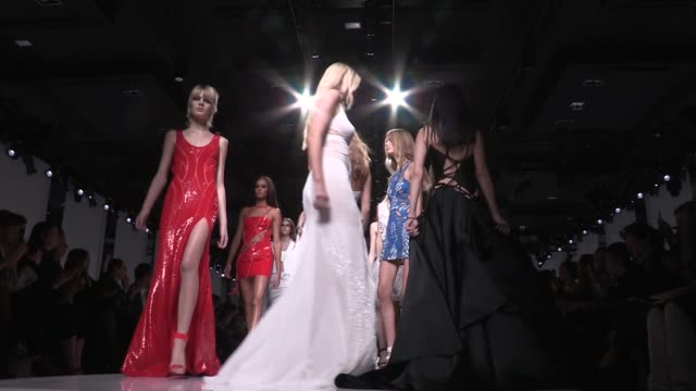 the finale | versace fashion show | catwalk | haute couture 2016 | paris fashion week - versace designer label stock videos & royalty-free footage