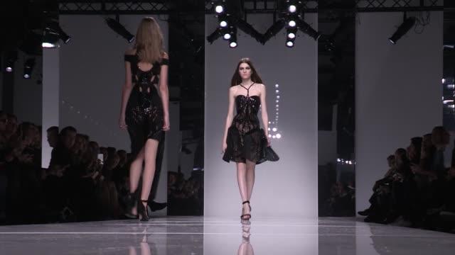 versace fashion show   catwalk   haute couture 2016   paris fashion week - versace designer label stock videos & royalty-free footage