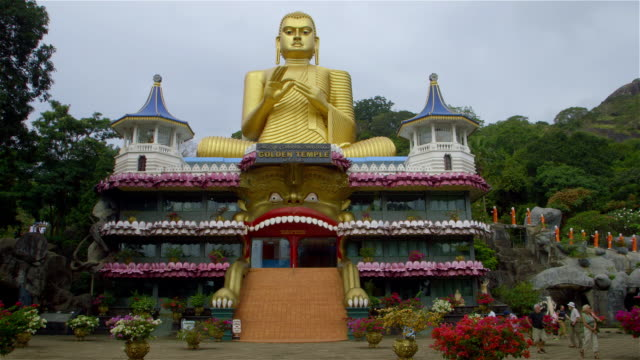 golden temple and big buddha - sri lankan culture stock videos & royalty-free footage