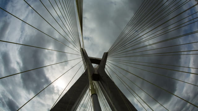 estaiada brigde -  sao paulo - steel cable stock videos & royalty-free footage