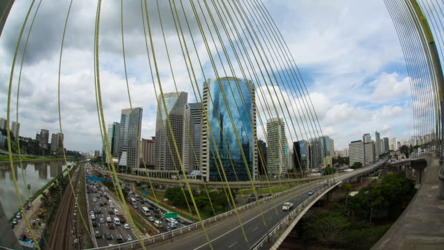 estaiada brigde -  sao paulo - wide angle stock videos & royalty-free footage