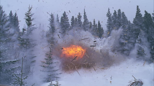 small cabin in snowy pine forest explodes; snowing - 小屋点の映像素材/bロール