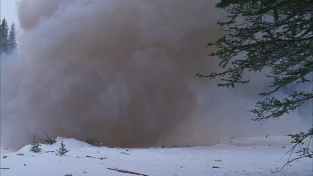 small cabin in snowy pine forest explodes; snowing - cabin stock videos & royalty-free footage