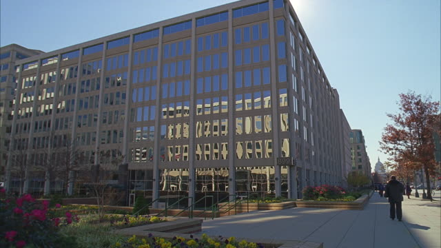 8 - story modern glass office bldg., n-d city; dolly in - establishing shot stock videos & royalty-free footage