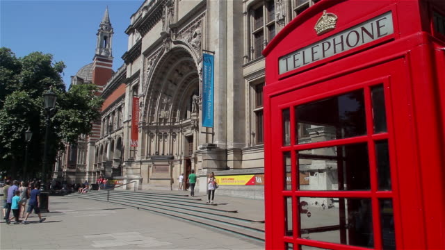 victoria and albert museum and red telephone box - hyde park london stock videos & royalty-free footage