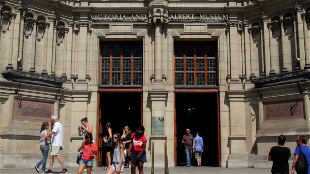 victoria and albert museum entrance and steps - victoria and albert museum london stock videos & royalty-free footage