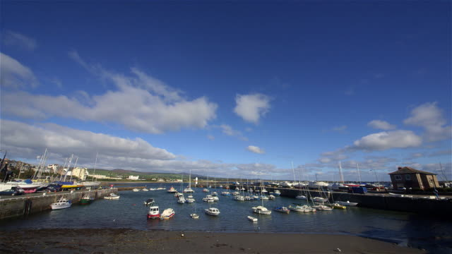 fishing and pleasure boats in harbour - isle of man stock videos & royalty-free footage