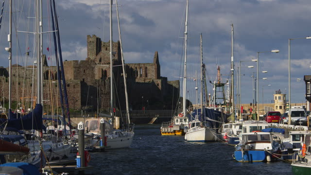 yachts in harbour and castle - isle of man stock videos & royalty-free footage