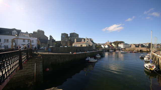boats in harbour and castle - isle of man stock videos & royalty-free footage
