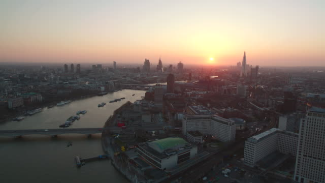 sunrise aerial themes river, london, england - aerial view stock videos & royalty-free footage