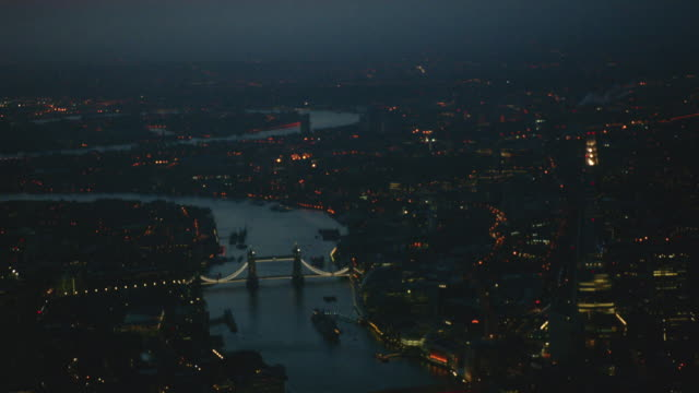 magic hour aerial themes river, london, england - tower bridge stock videos & royalty-free footage