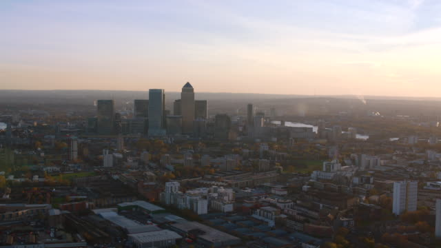 aerial london featuring canary wharf, the docklands - london docklands stock videos & royalty-free footage