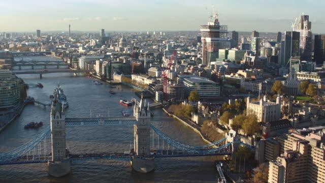 aerial london, many views, gherkin, tower bridge, cannon street station - tower bridge stock videos & royalty-free footage