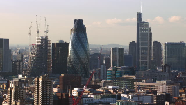 aerial london, many views, gherkin, tower bridge, cannon street station - day stock videos & royalty-free footage