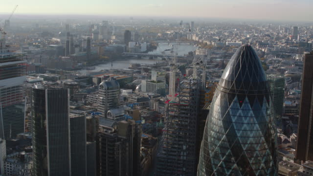 aerial london; cannon street station, shard & and the gherkin (egg bldg.) - cathedral stock videos & royalty-free footage
