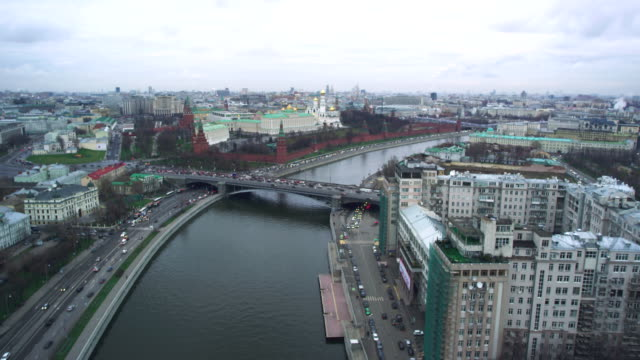 aerial kremlin and moskva river - moscow russia stock videos & royalty-free footage