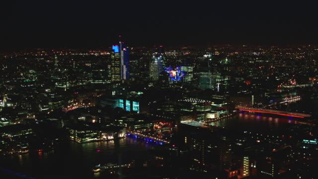 n/x aerial london; st paul's to shard to tower bridge - shard london bridge stock videos & royalty-free footage