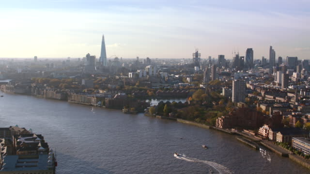 aerial london, many views, gherkin, tower bridge, cannon street station - fluss themse stock-videos und b-roll-filmmaterial