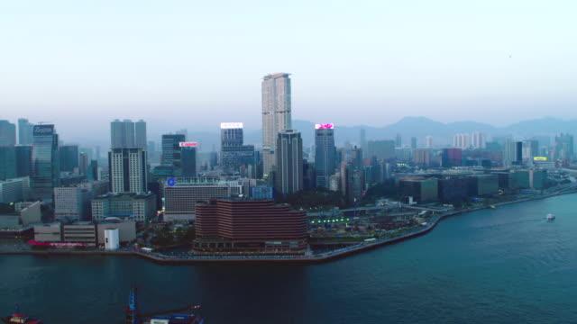 aerial hong kong (late afternoon) - victoria hong kong stock videos & royalty-free footage