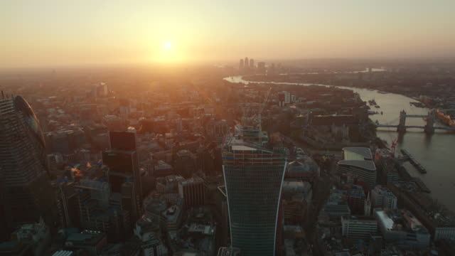sunrise aerial themes river, london, england - 30 seconds or greater stock videos & royalty-free footage