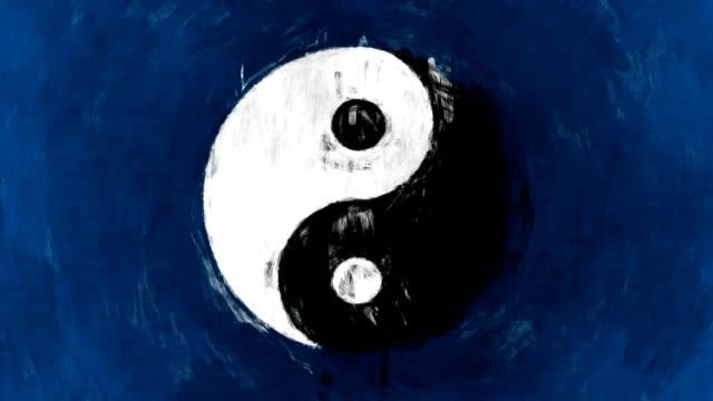 vídeos y material grabado en eventos de stock de arte símbolo yin-yang - lunares