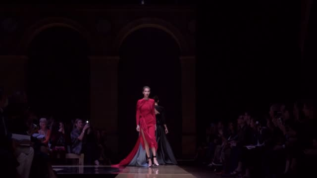 versace fashion show | haute couture fall winter 16-17 | paris fashion week - versace designer label stock videos & royalty-free footage