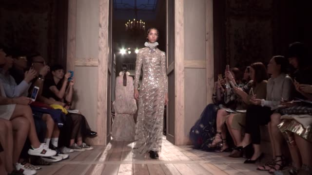 valentino fashion show | haute couture fall winter 16-17 | paris fashion week - valentino designer label stock videos & royalty-free footage