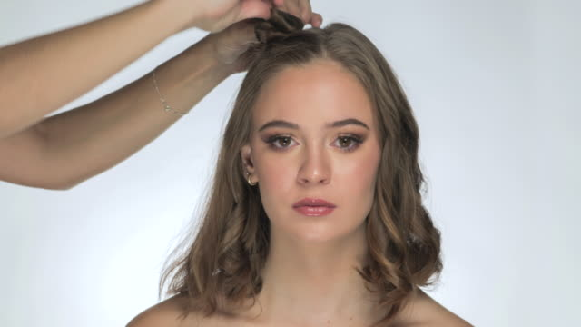 make up time lapse - hairdresser stock videos & royalty-free footage