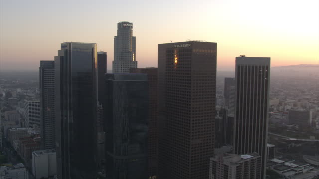 aerial of downtown los angeles at sunset - microwave tower stock videos and b-roll footage