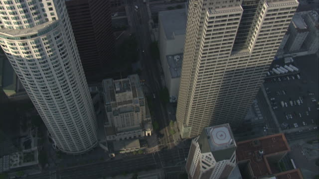 aerial high angle down of roofs - wells fargo stock videos and b-roll footage